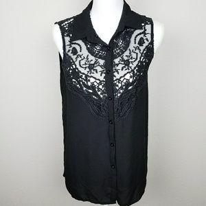 Solemio Black Crochet Lace Sleeveless Blouse Small